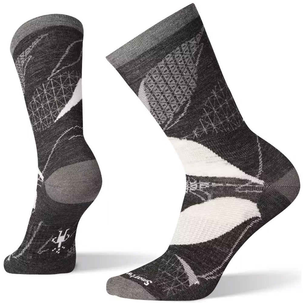 Smartwool Women's Kimono Leaf Crew Socks in Charcoal at Mar-Lou Shoes