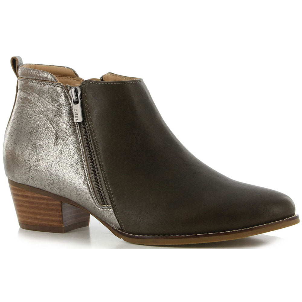 Ziera Varsha Bootie in Charcoal/Metal Leather at Mar-Lou Shoes