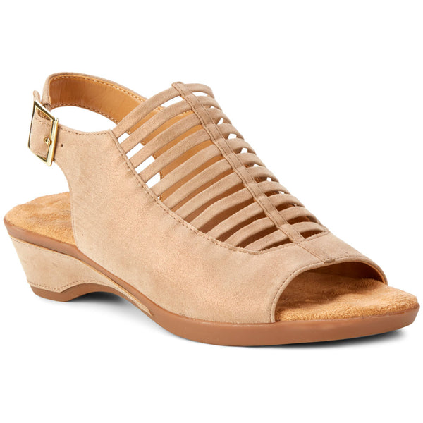 Walking Cradles Karina Wedge Sandal in Cipria Metallic Suede at Mar-Lou Shoes