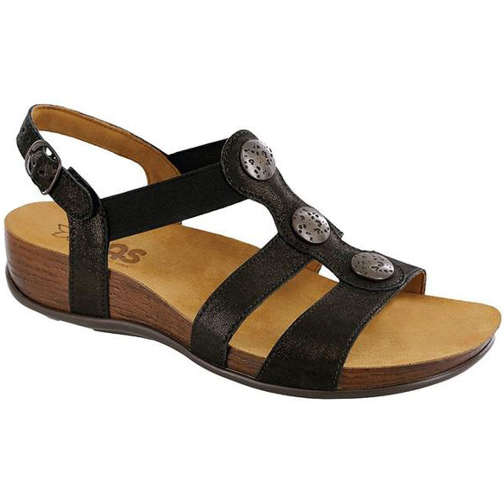 SAS Clover Space Nero Sandal in Black Leather at Mar-Lou Shoes