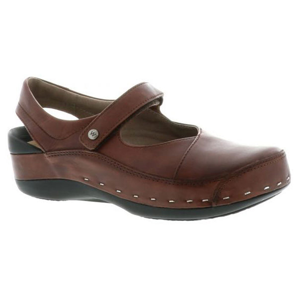 Wolky Strap Cloggy in Cognac Vegi Leather at Mar-Lou Shoes