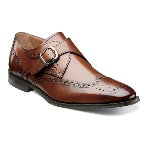 Sabato Wingtip Monk Strap Oxford in Cognac Leather
