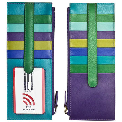 ILI 7800 RFID Credit Card Holder with Zip Pocket in Cobalt Leather at Mar-Lou Shoes