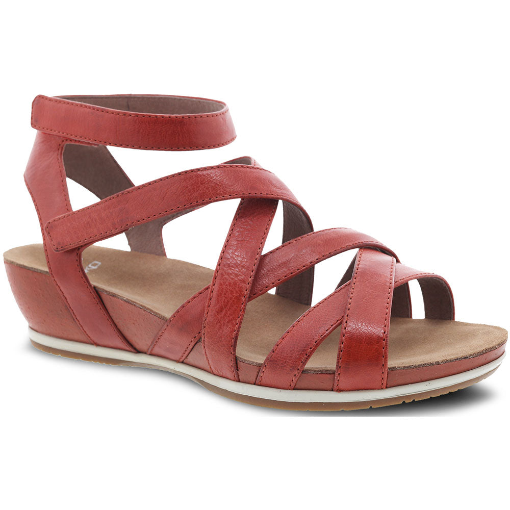 Veruca Sandal in Coral Burnished Full Grain Leather