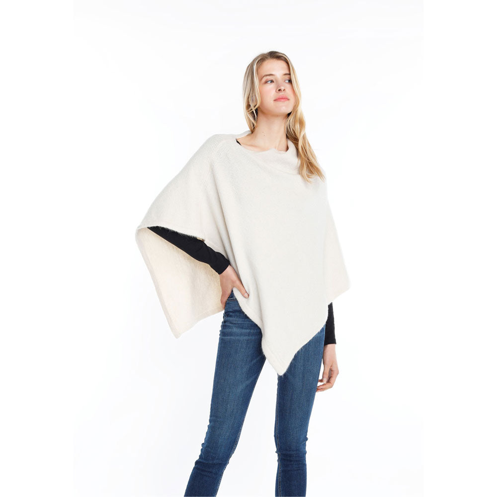 Look by M Basic Cashmere Blend Poncho in Cream at Mar-Lou Shoes