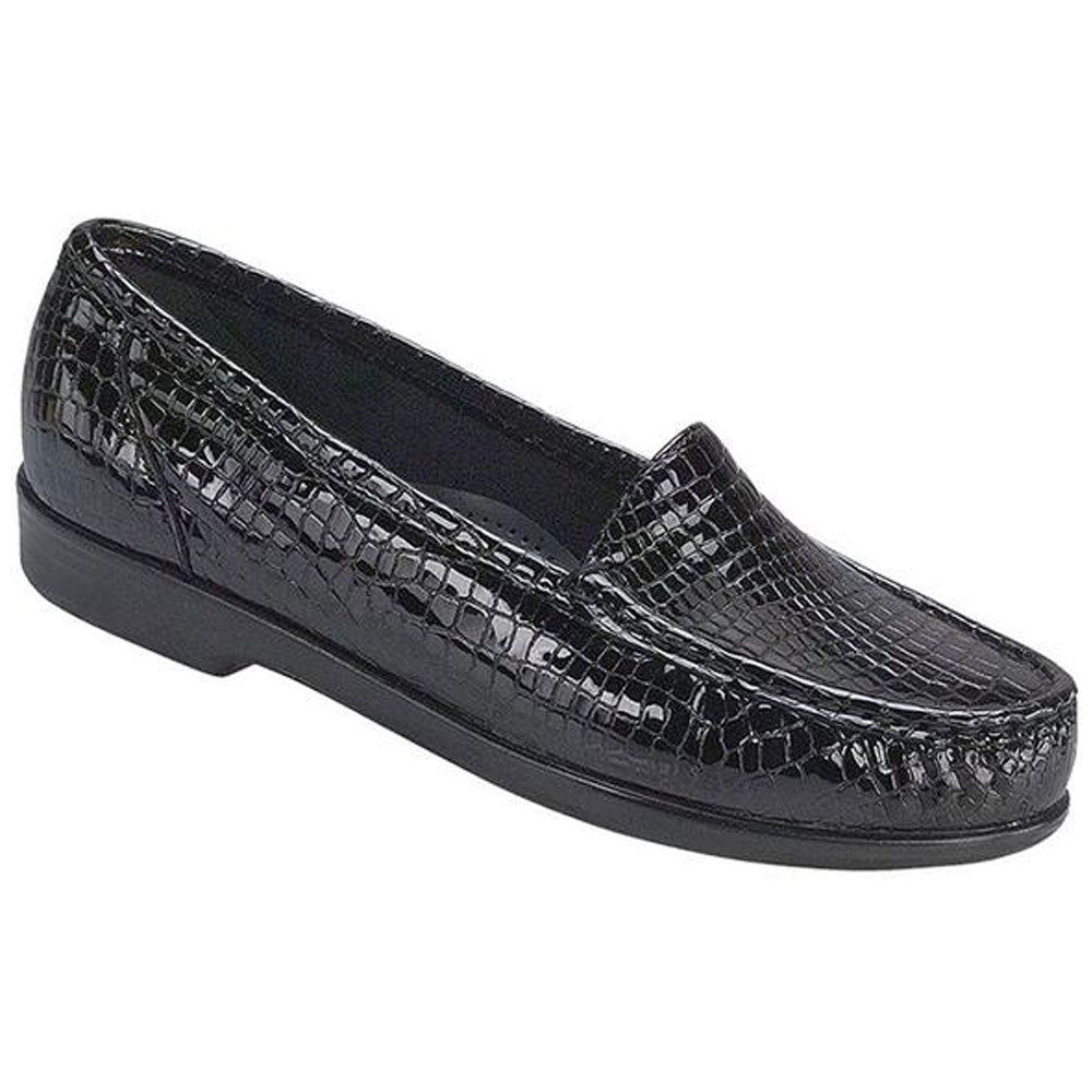 SAS Simplify Loafer in Black Croc Leather at Mar-Lou Shoes