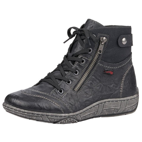 Remonte D3874 Water-Resistant Boot in Black Leather at Mar-Lou Shoes