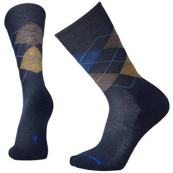 Smartwool Men's Diamond Jim Crew Socks Men's Diamond Jim Socks in Deep Navy Heather/Desert Sand Heather at Mar-Lou Shoes