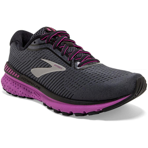 Brooks Women's Adrenaline GTS 20 in Ebony/Black/Hollyhock at Mar-Lou Shoes