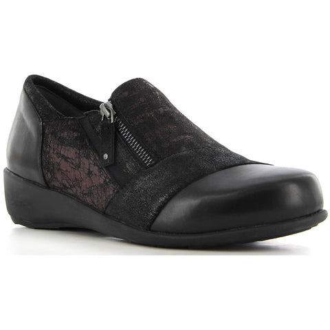 Ziera Sage in Black Passion/Eggplant Flatiron at Mar-Lou Shoes