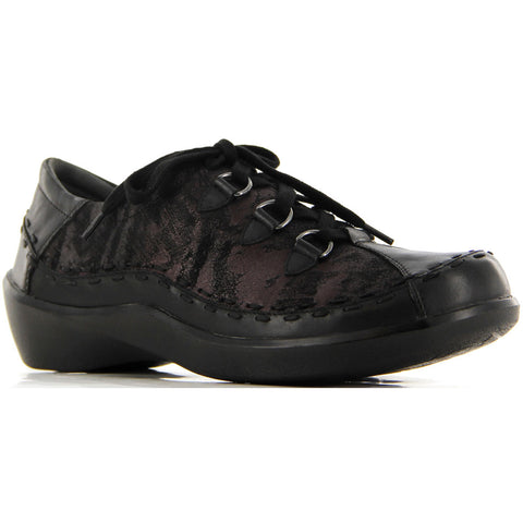 Ziera Allsorts in Black/Eggplant Flatiron Leather at Mar-Lou Shoes