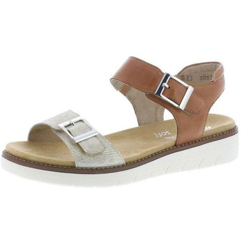Remonte D2051 Sandal in Light Gold/Noccia at Mar-Lou Shoes
