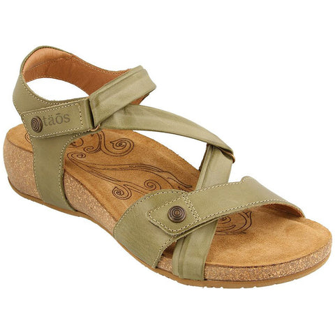 Taos Universe Sandal in Herb Green Leather at Mar-Lou Shoes
