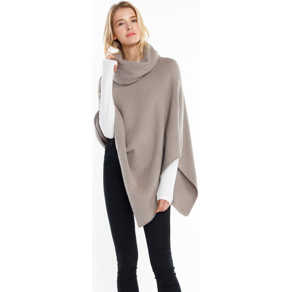 Look by M Turtleneck Wrap Poncho in Grey at Mar-Lou Shoes