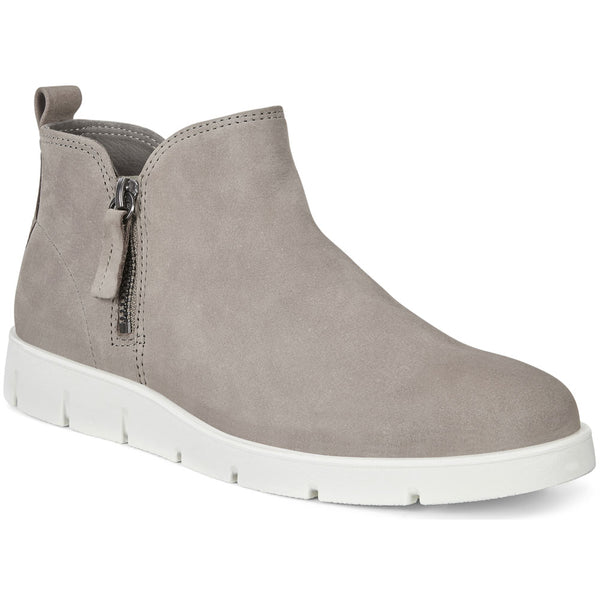 ECCO Bella Zip Low Bootie in Warm Grey Leather at Mar-Lou Shoes