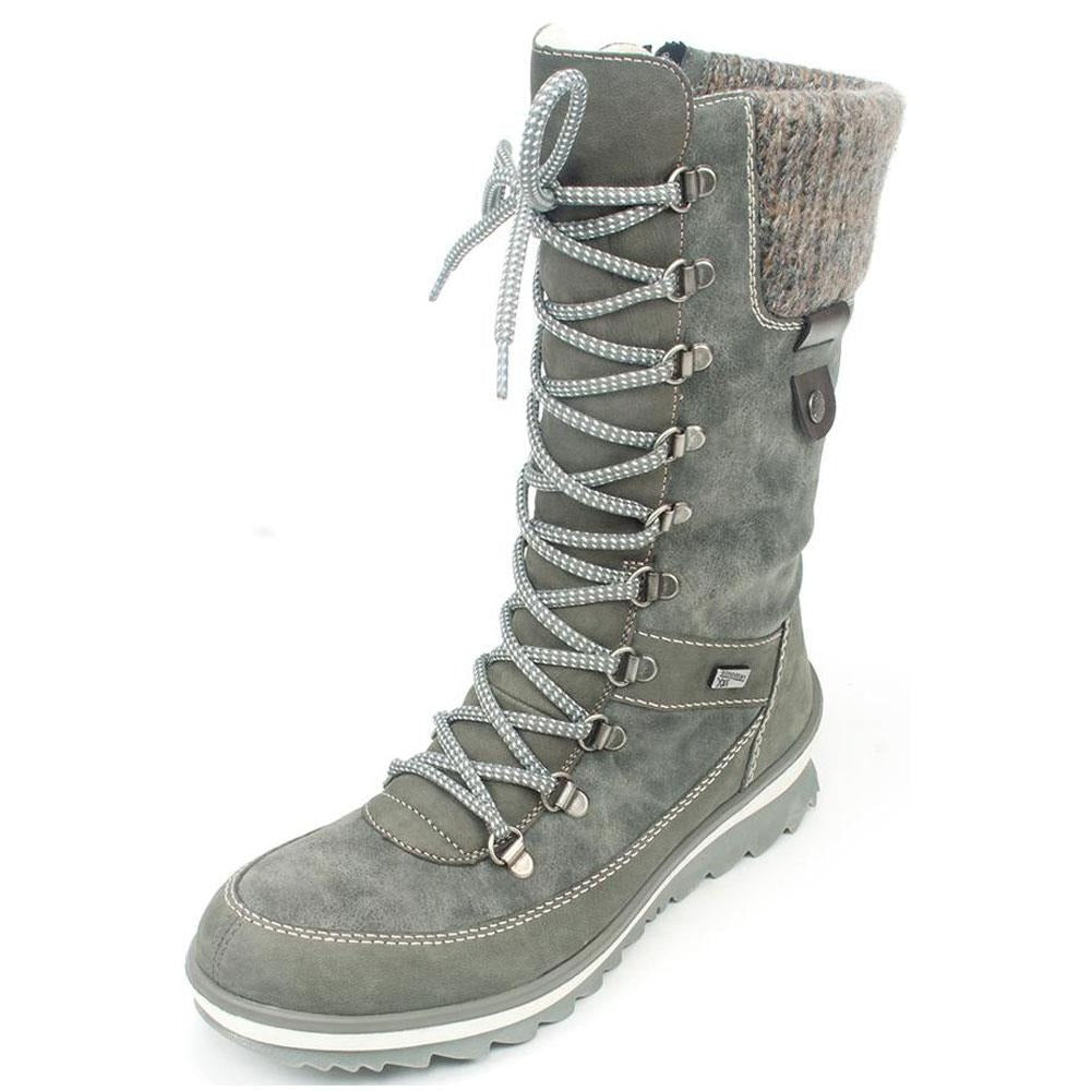 Remonte Gillian71 Water-Resistant Boot in Grey Leather Combi at Mar-Lou Shoes
