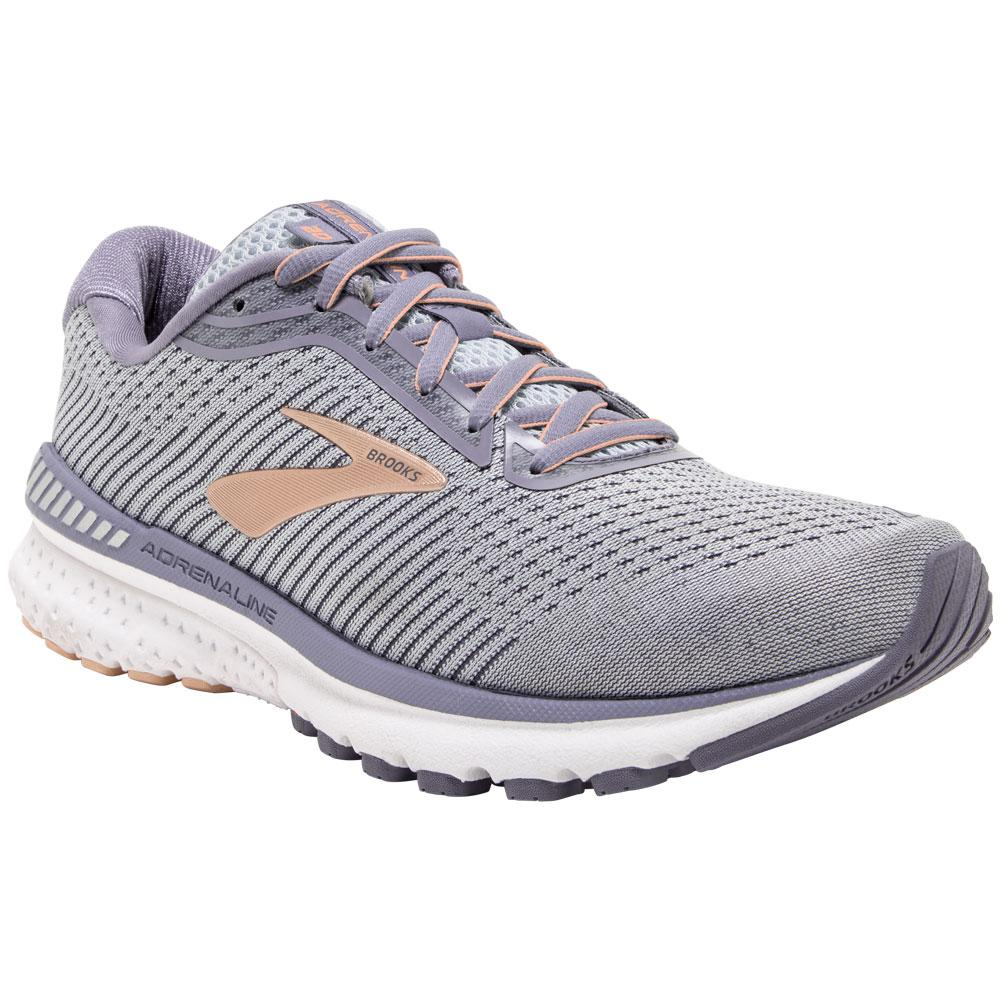 Brooks Women's Adrenaline GTS 20 in Grey/Pale Peach/White at Mar-Lou Shoes