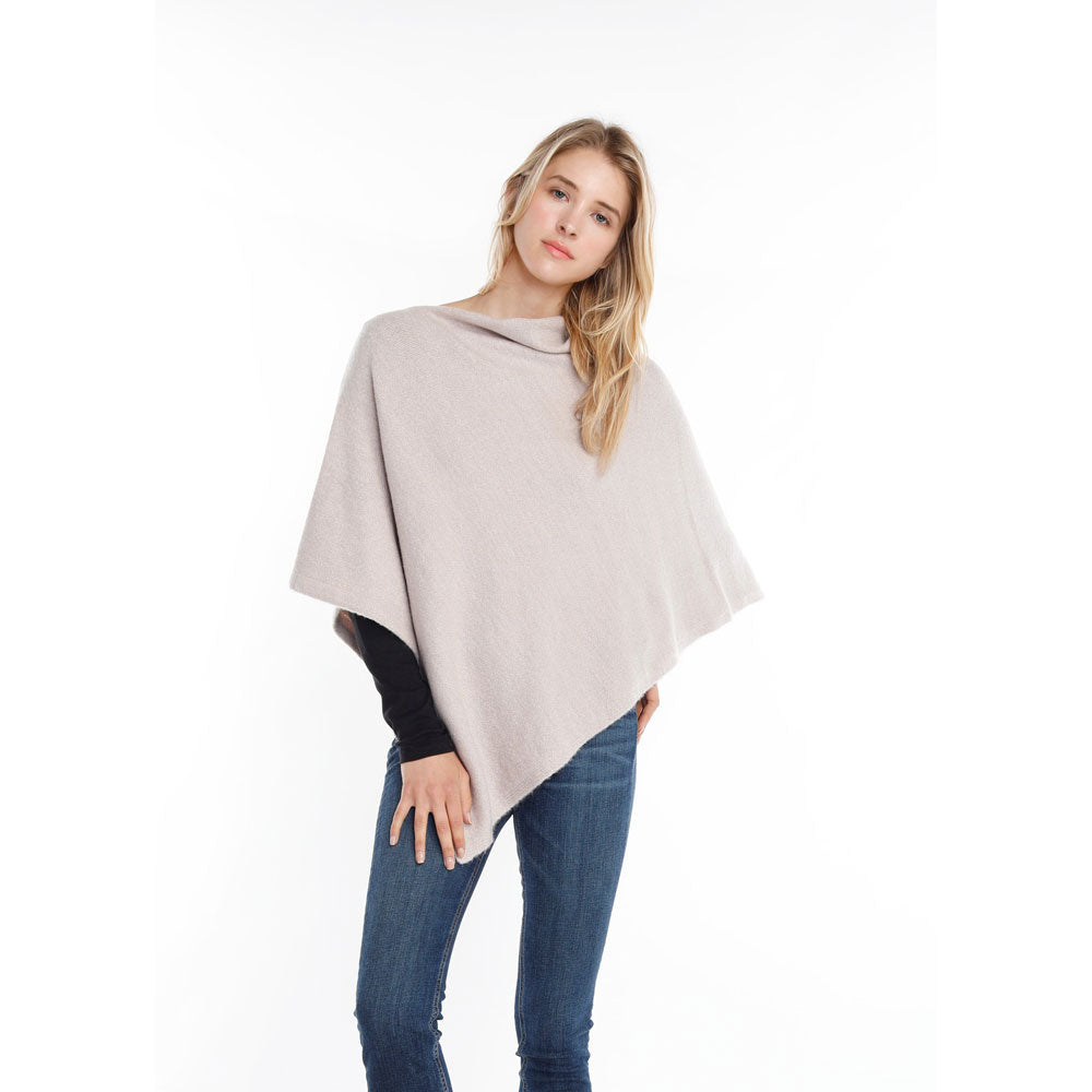 Look by M Basic Cashmere Blend Poncho in Grey at Mar-Lou Shoes