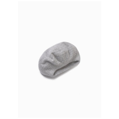 Look by M Cashmere-Blended Crocheted Beret in Grey at Mar-Lou Shoes