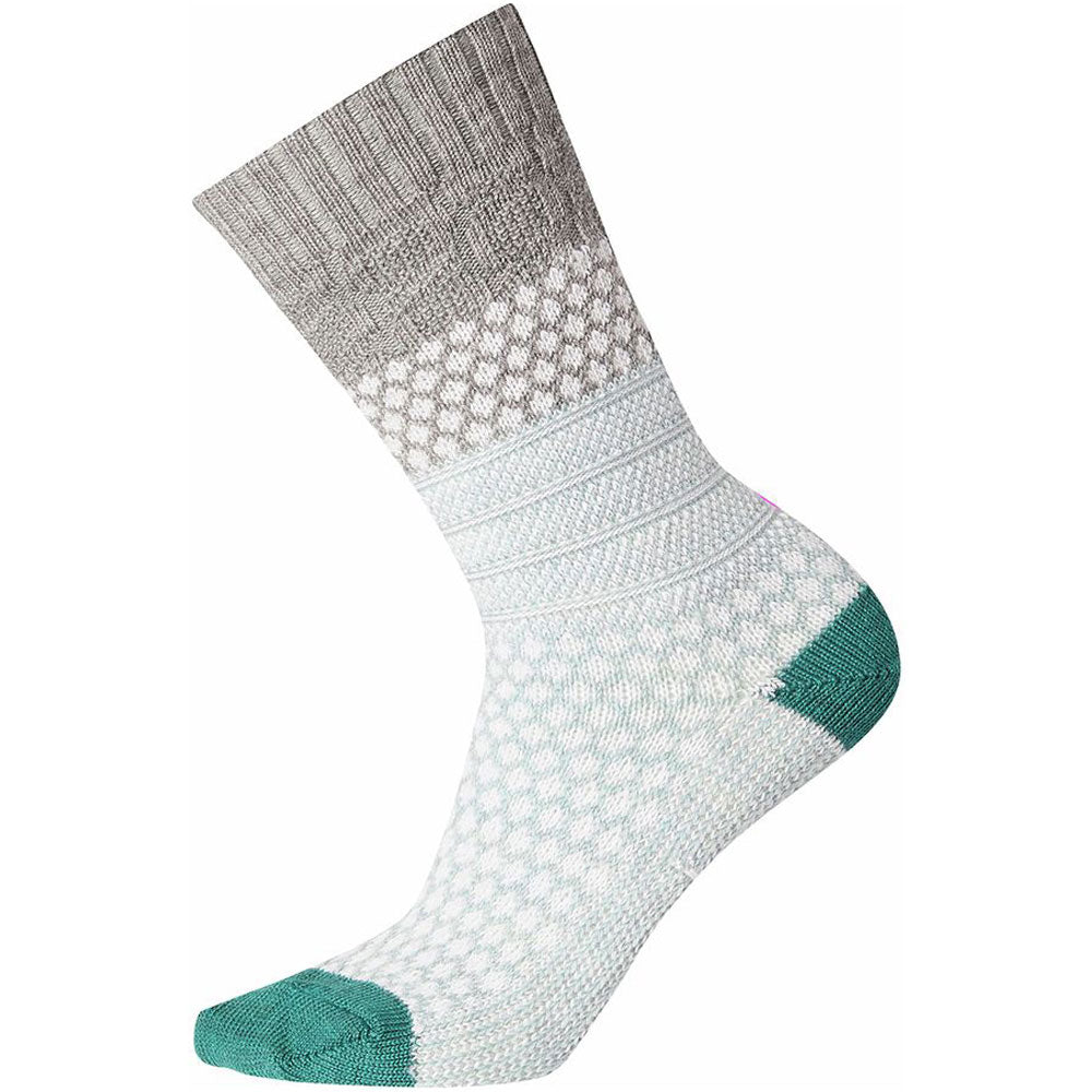 Women's Popcorn Cable Crew Socks in Light Grey at Mar-Lou Shoes