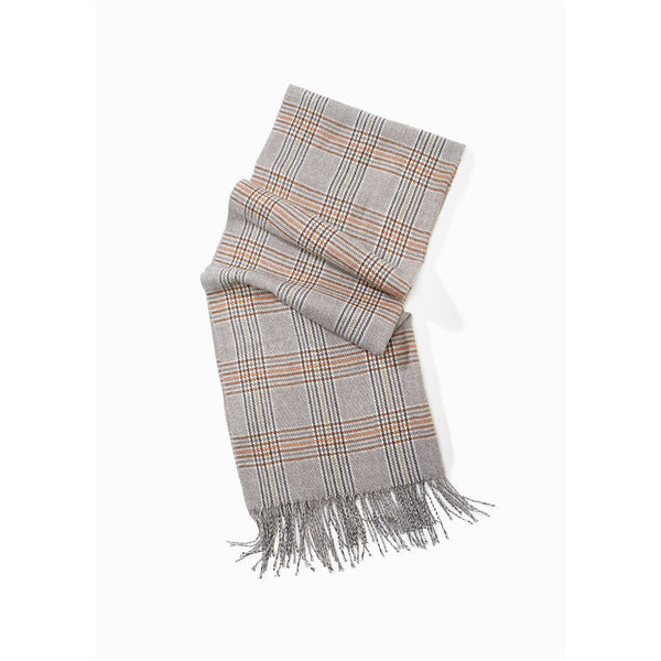 Look By M Classic Neutral Plaid Scarf Grey | Mar-Lou Shoes