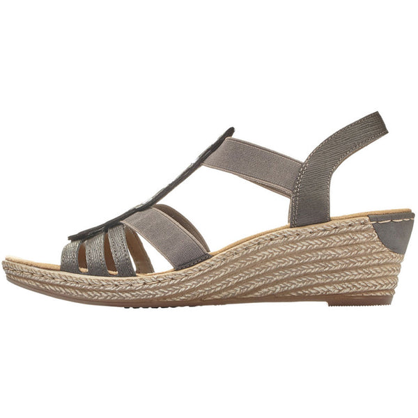 Rieker 62436 Sandal in Dark Grey at Mar-Lou Shoes