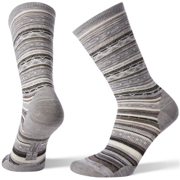 Smartwool Women's Ethno Graphic Crew Socks in Grey-Black at Mar-Lou Shoes