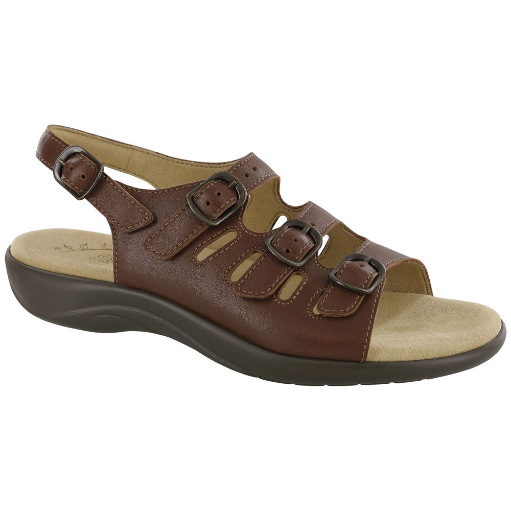 SAS Mystic Sandal in Henna Brown Leather at Mar-Lou Shoes