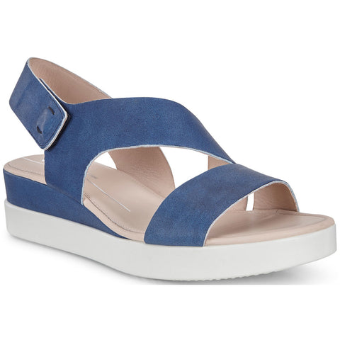 ECCO Touch Sandal in Indigo Leather at Mar-Lou Shoes