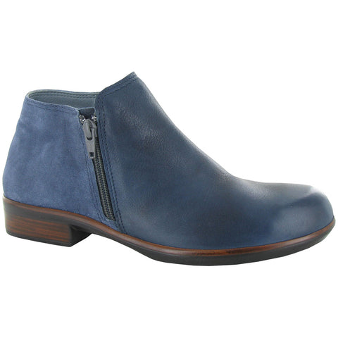 Naot Helm Bootie in Ink Leather/Midnight Blue Suede at Mar-Lou Shoes
