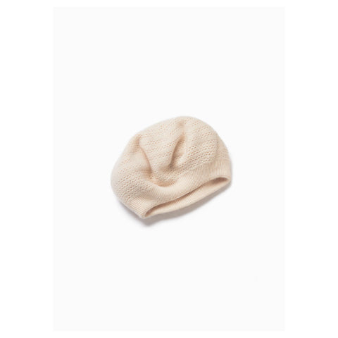 Look by M Cashmere-Blended Crocheted Beret in Ivory at Mar-Lou Shoes