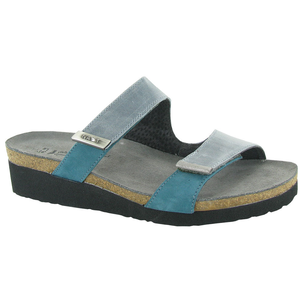 Jacey Sandal in Teal Leather