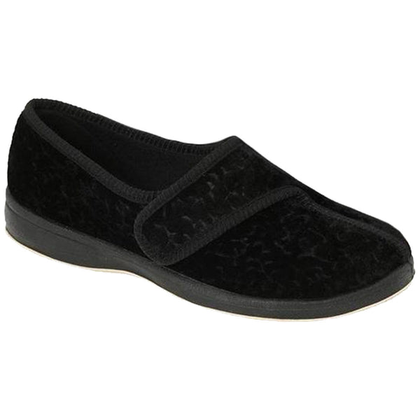 Jewel Slipper for Women in Black Velour