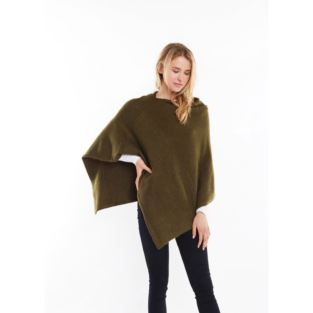 Look by M Basic Cashmere Blend Poncho in Khaki at Mar-Lou Shoes