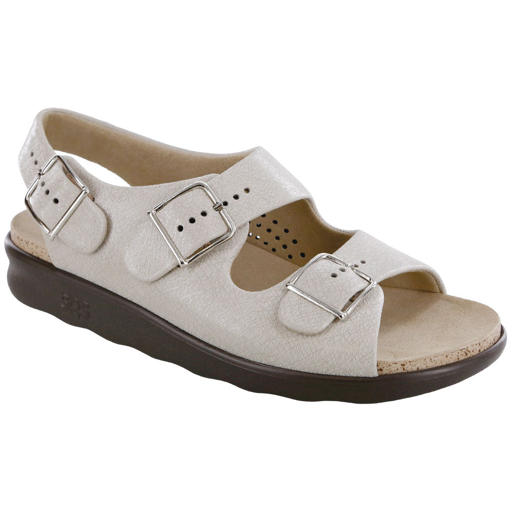 SAS Relaxed Sandal in Web Linen Leather at Mar-Lou Shoes