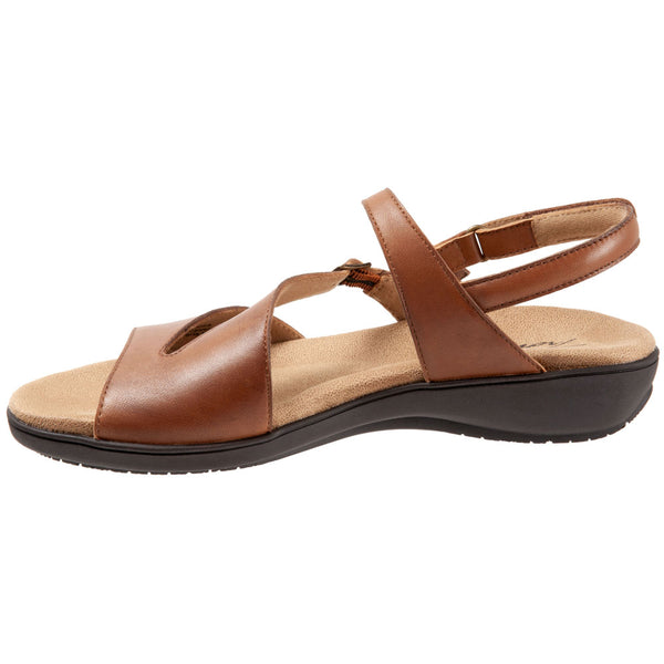 Trotters Riva Sandal in Luggage Leather at Mar-Lou Shoes