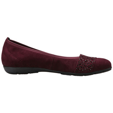 Gabor 74160 Embelleshed Ballet Flat in Merlot at Mar-Lou Shoes