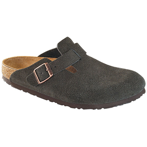 Birkenstock Boston Soft Footbed Clog in Mocha Suede at Mar-Lou Shoes