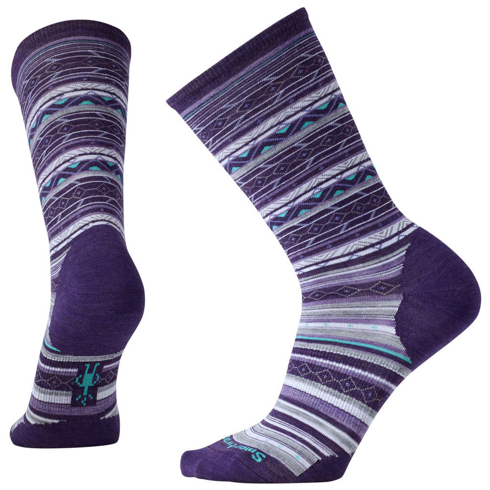 Women's Ethno Graphic Crew Socks in Mountain Purple Heather