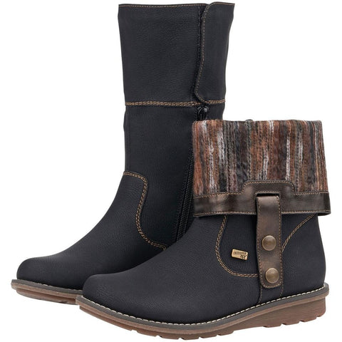 Remonte R1071 Water-Resistant Boot in Black with Grey/Brown Combi at Mar-Lou Shoes