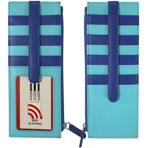 7800 RFID Credit Card Holder with Zip Pocket in Mykonos Leather