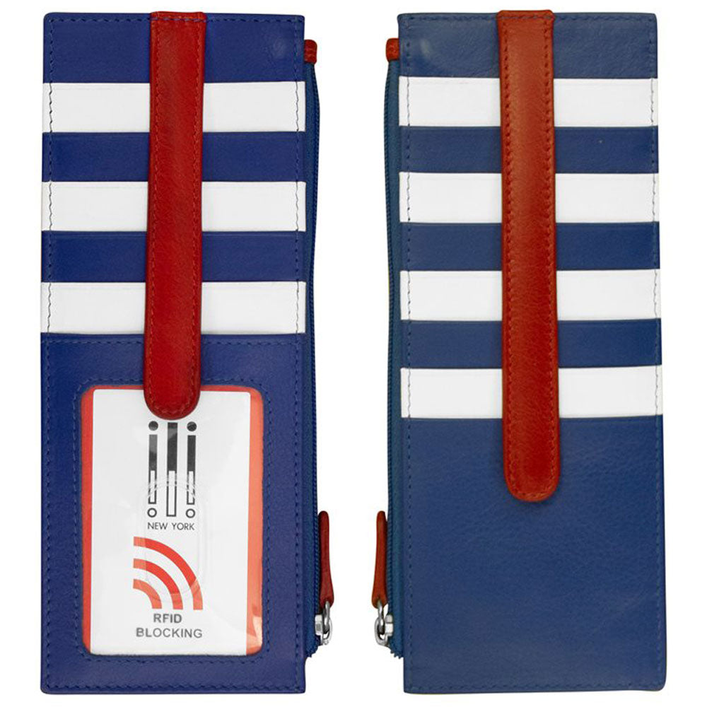 ILI 7800 RFID Credit Card Holder with Zip Pocket in Nautical Leather at Mar-Lou Shoes