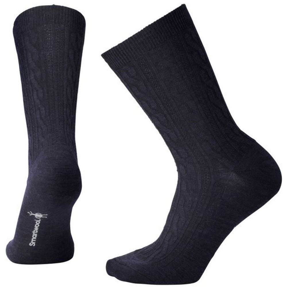 Cable II Socks in Deep Navy Heather
