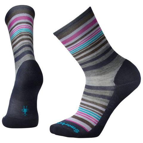Jovian Stripe Crew Socks in Deep Navy Heather/Meadow Mauve Heather