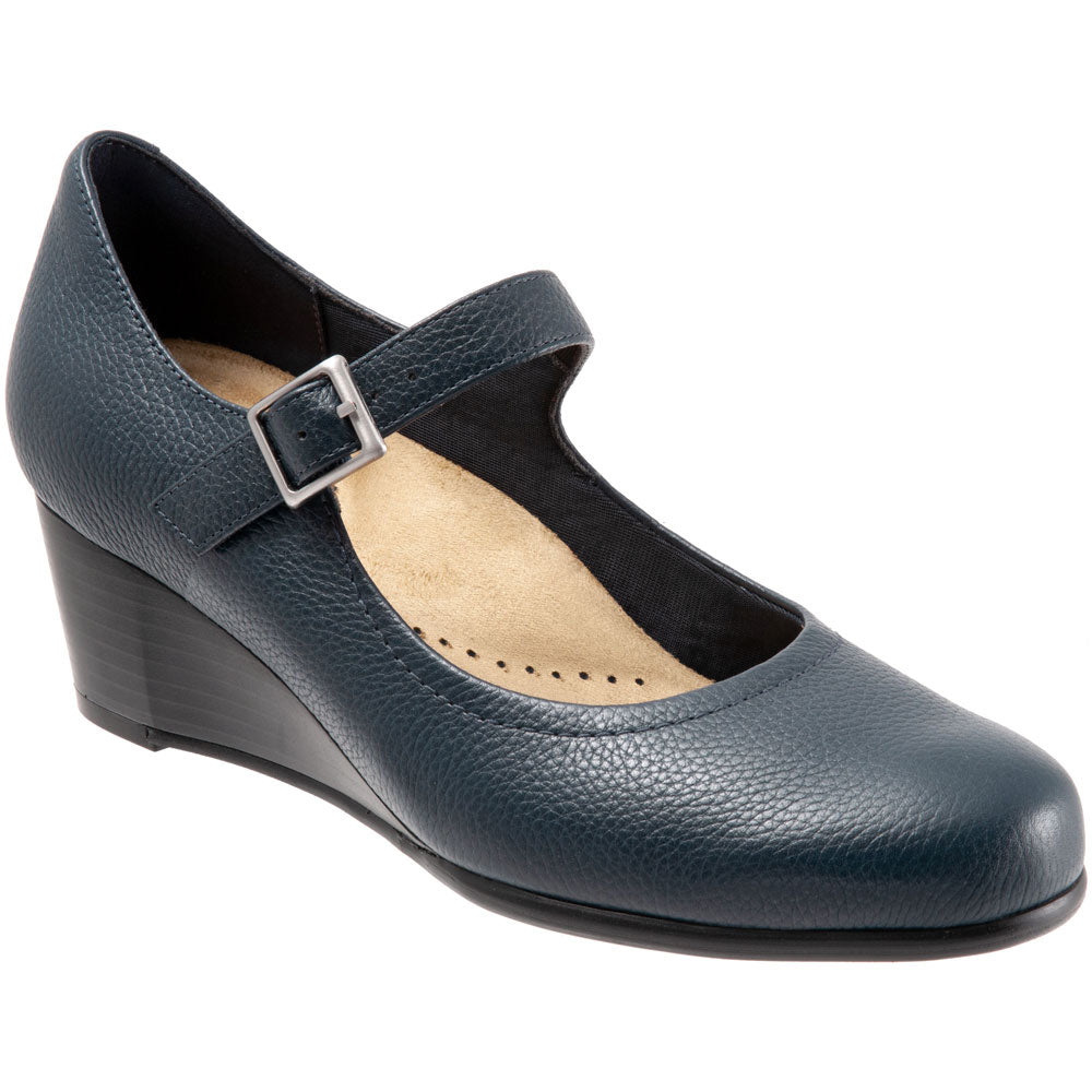 Willow Wedge in Navy Leather