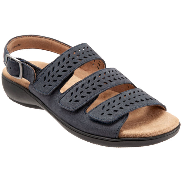 Trotters Trinity Sandal in Navy Leather at Mar-Lou Shoes