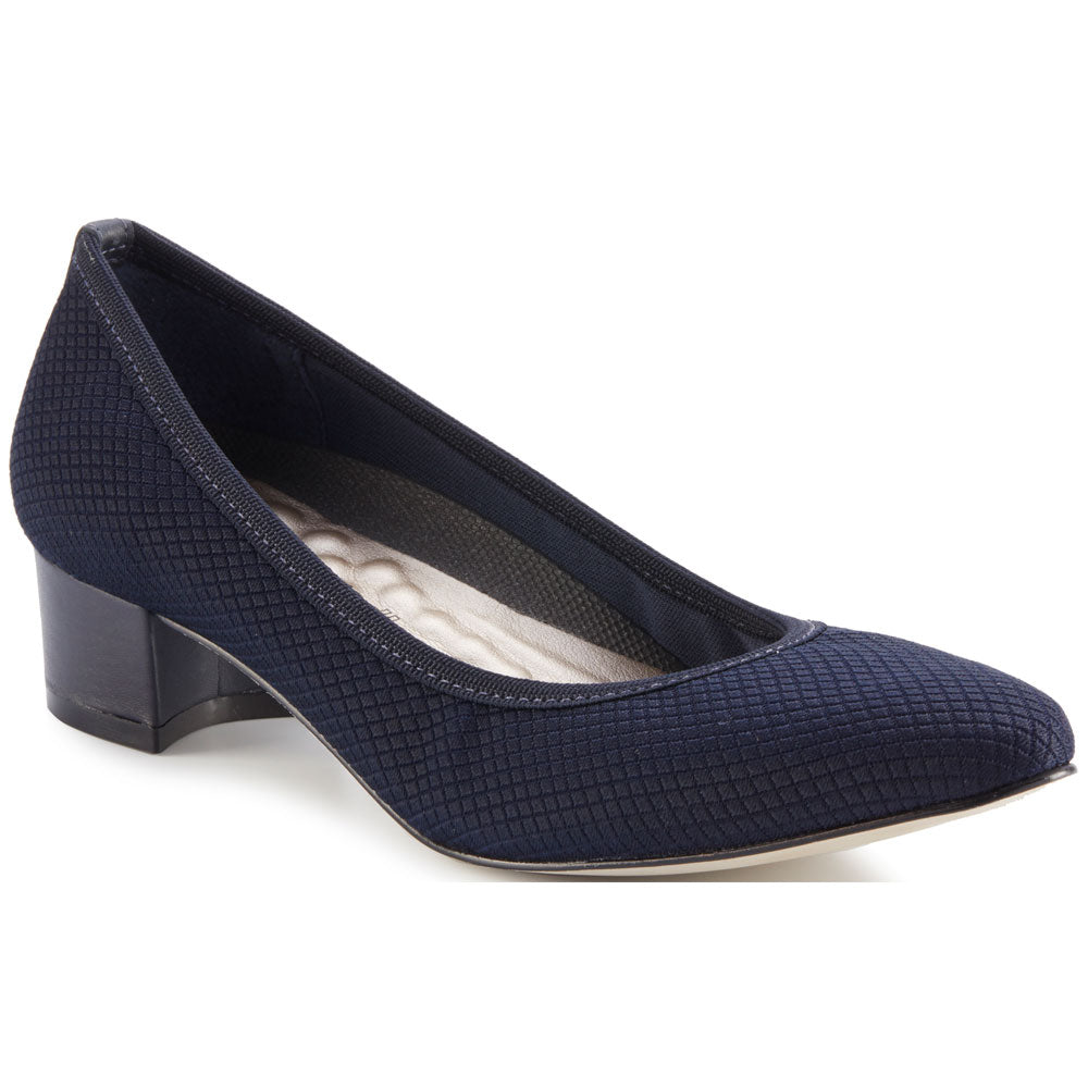 Walking Cradle Hanna Heel in Navy Textured Stretch Fabric/Navy Leather at Mar-Lou Shoes