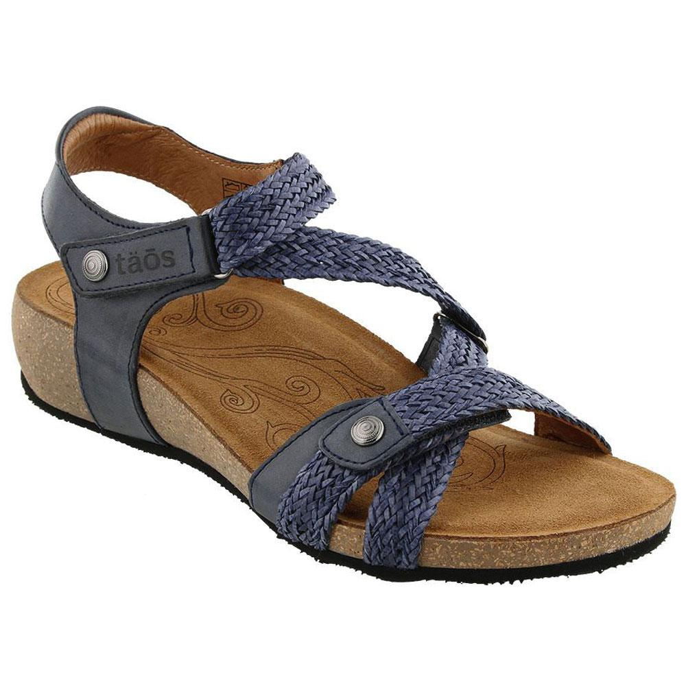 Taos Trulie Sandal in Navy Leather at Mar-Lou Shoes