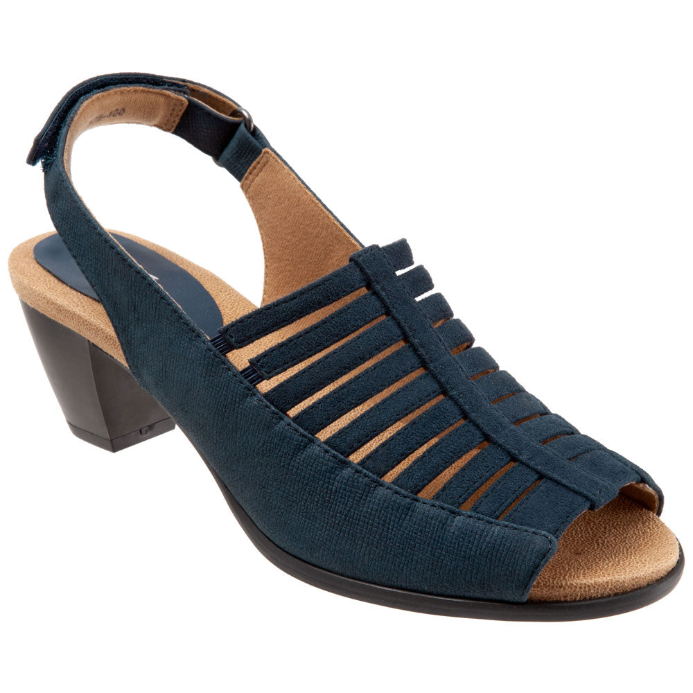 Trotters Minnie Sandal in Navy Leather at Mar-Lou Shoes