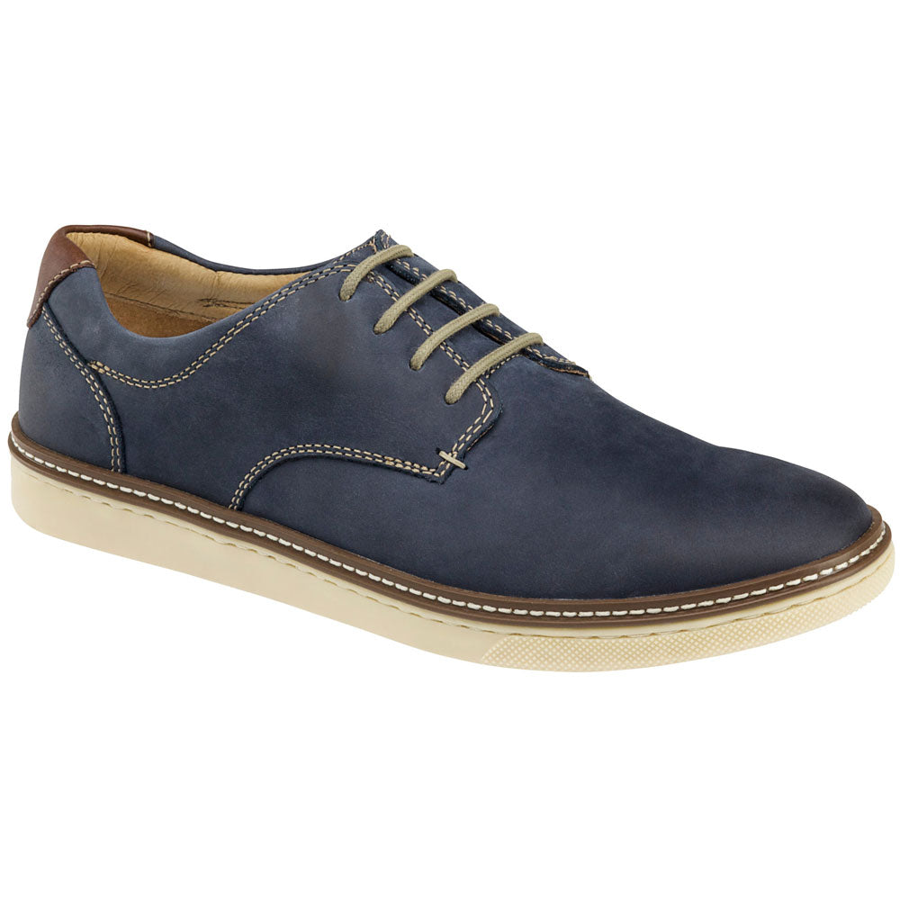 Johnston and Murphy McGuffey Plain Toe Oxford in Navy Leather at Mar-Lou Shoes